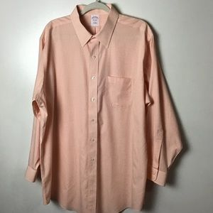 Brooks Brothers orange gingham button up. 17.5